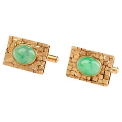Vintage Jade 14 Karat Yellow Gold Checkered Men's Cufflinks