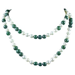 Vintage Jade and Pearl Necklace