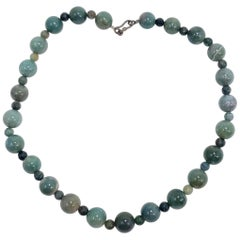 Vintage Jade Bead String Necklace, Alternating Beads, Mid to late 1900s