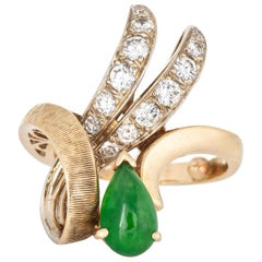 Vintage Jade Diamond Ring 14 Karat Yellow Gold Ribbon Estate Fine Jewelry Pinky