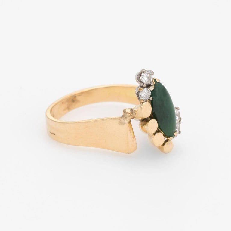 Marquise Cut Vintage Jade Diamond Ring 1970s Cocktail Jewelry 14 Karat Gold Estate Fine For Sale