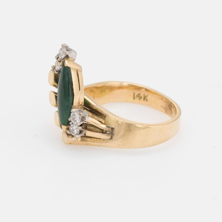 Vintage Jade Diamond Ring 1970s Cocktail Jewelry 14 Karat Gold Estate Fine In Excellent Condition For Sale In West Hills, CA
