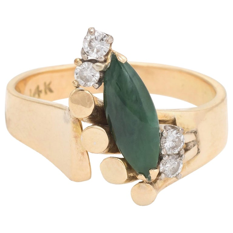 Vintage Jade Diamond Ring 1970s Cocktail Jewelry 14 Karat Gold Estate Fine For Sale
