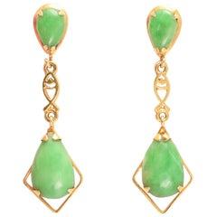 Vintage Jade Drop Earrings