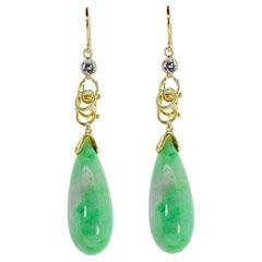 Vintage Jade Gold Earrings