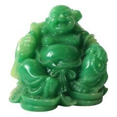 Vintage Jade Green Resin Seated Buddha Sculpture, ca. 1960s