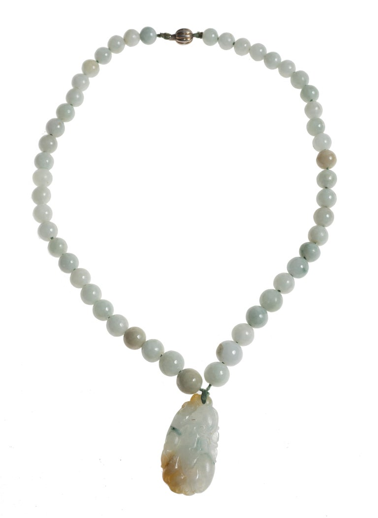 Chinese Vintage Jade Necklace with Pendant and Decorations, China, 20th Century For Sale