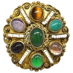 Vintage Jade Pendant Gemstone Sterling Brooch