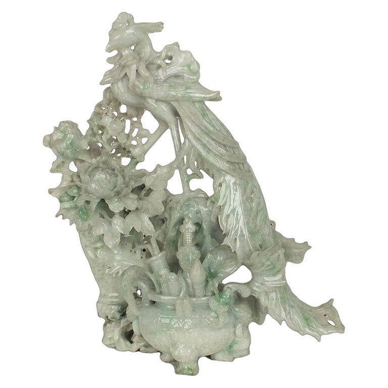 Vintage Jadeite Carving, China, 20th Century For Sale