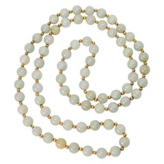 Vintage Jadeite Gold Bead Necklace