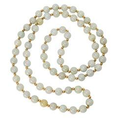 Vintage Jadeite Gold Bead Necklace