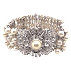 Vintage Diamond and Pear Watch Bracelet Platinum Art Deco Style
