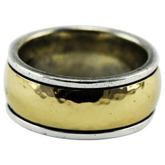 Vintage James Avery Hammered 14k Gold and Sterling Bimetal Men's Ring 17.7 Grams