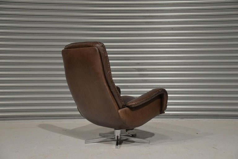 Vintage James Bond De Sede S231 Swivel Armchair and Ottoman, Switzerland 1960s 3