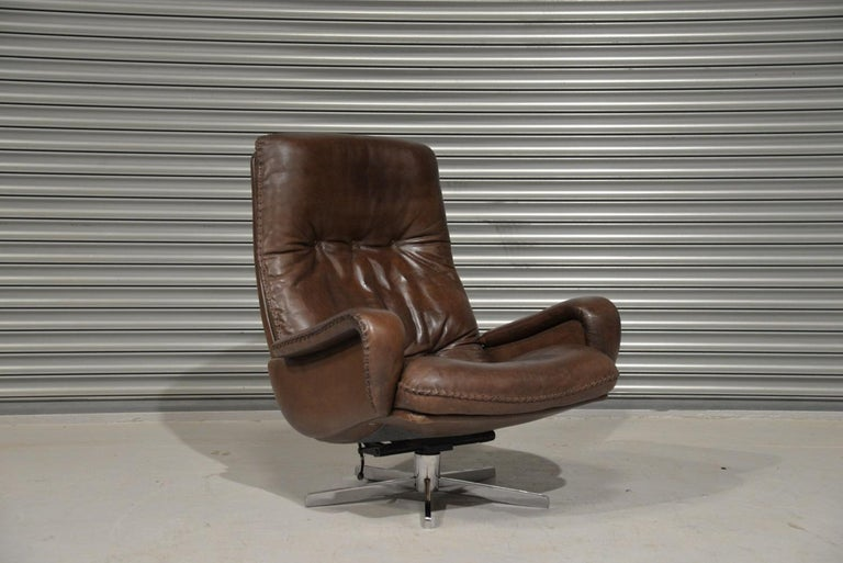 Vintage James Bond De Sede S231 Swivel Armchair and Ottoman, Switzerland 1960s 5