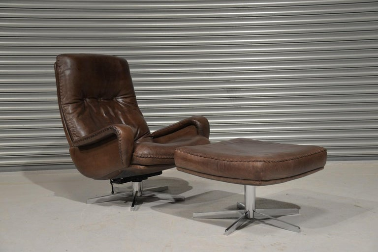 Swiss Vintage James Bond De Sede S231 Swivel Armchair and Ottoman, Switzerland 1960s