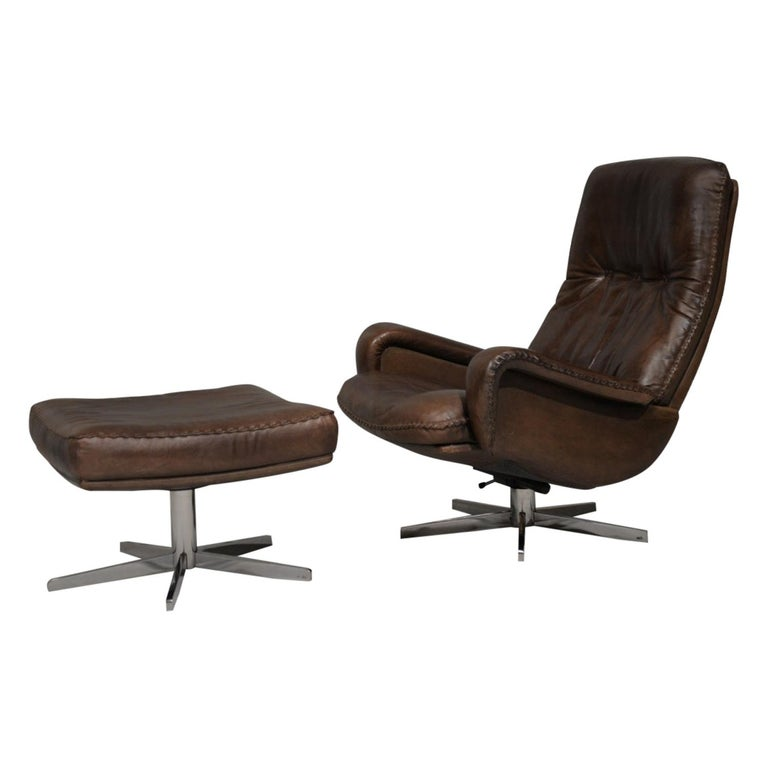 Vintage James Bond De Sede S231 Swivel Armchair and Ottoman, Switzerland 1960s