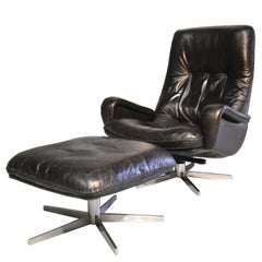 Vintage James Bond De Sede S231 Swivel Lounge Armchair and Ottoman, 1960s