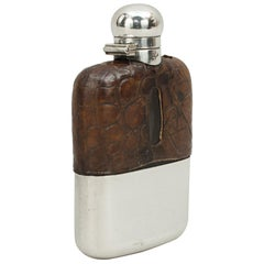 Vintage James Dixon Silver Hip Flask with Leather Cover