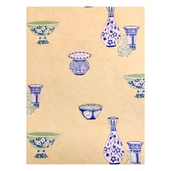 Vintage Jane Churchill Chinoiserie Yellow, Blue and Green Casbah Wallpaper 1990s