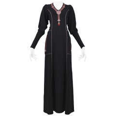 Vintage Janice Wainwright Black Embroidered Art Deco Maxi Gown