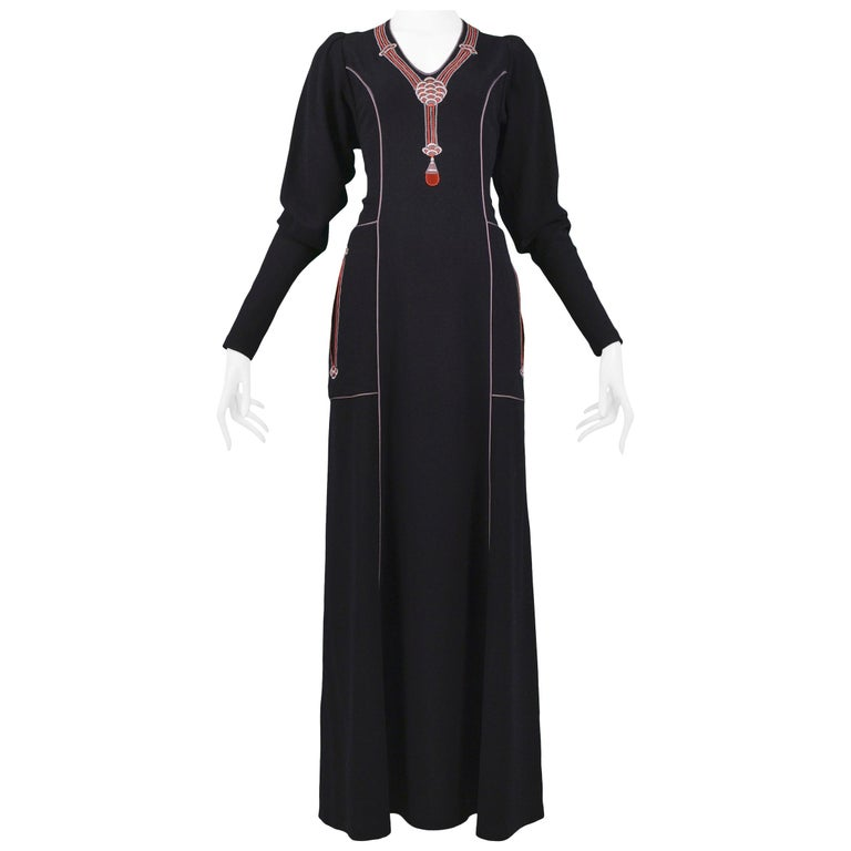 Vintage Janice Wainwright Black Embroidered Art Deco Maxi Gown For Sale