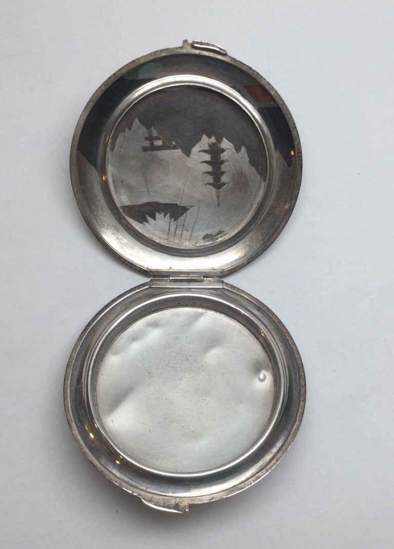 Vintage Japan Sterling Silver Two Tone Damascene Powder