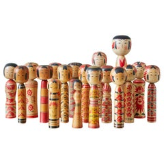 Vintage Japanese 1960s-1980s Collection of 18 Kokeshi Dolls from Tohoku Region