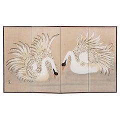 Vintage Japanese Byobu Folding Screen