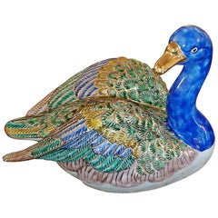 Vintage Japanese Ceramic Gilt Duck