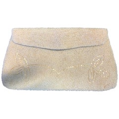Vintage Japanese Floral White Beaded Envelope Clutch
