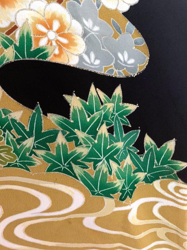 Vintage Japanese Formal Black Silk Kimono For Sale 7