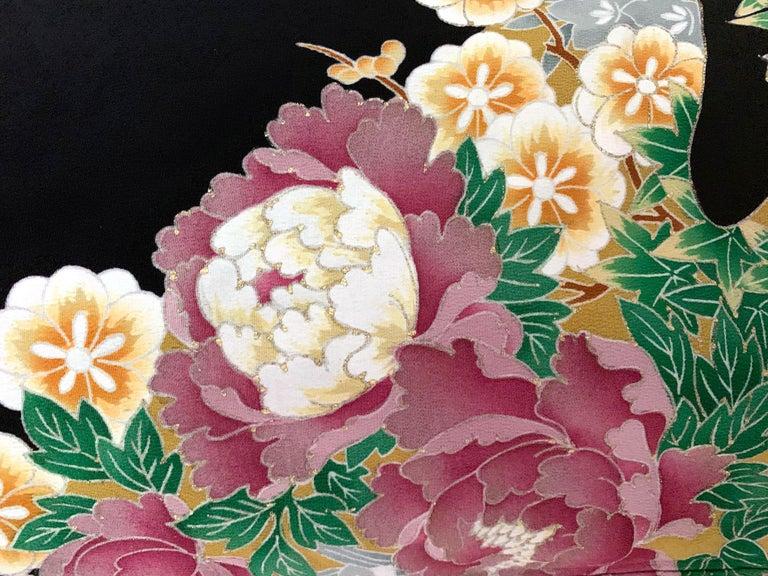 Vintage Japanese Formal Black Silk Kimono For Sale 8