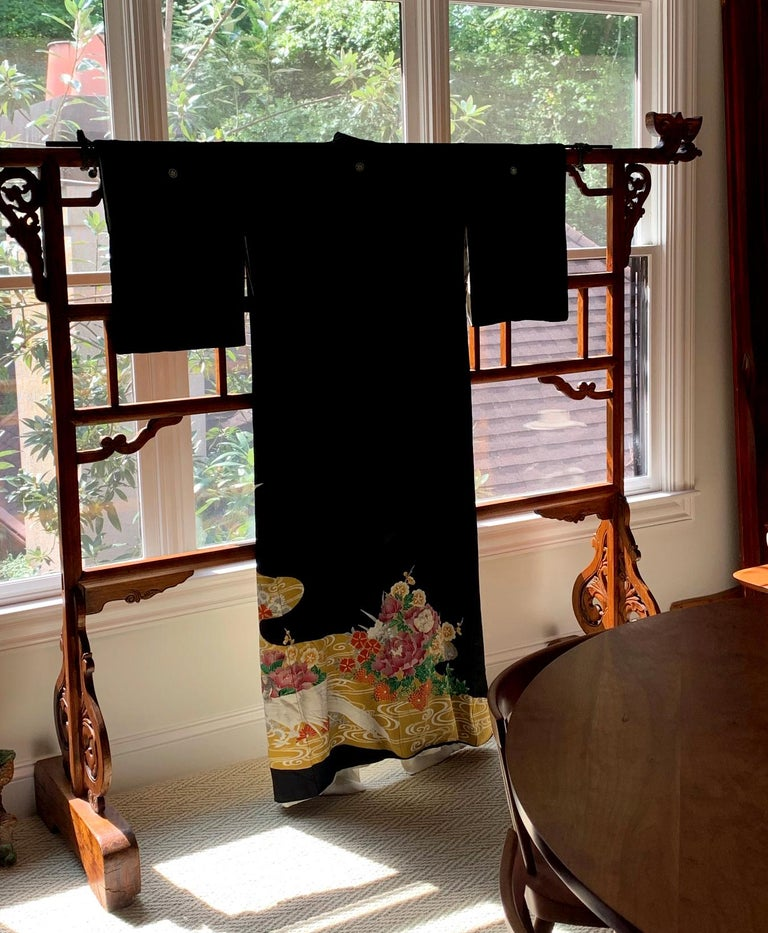 Japonisme Vintage Japanese Formal Black Silk Kimono For Sale