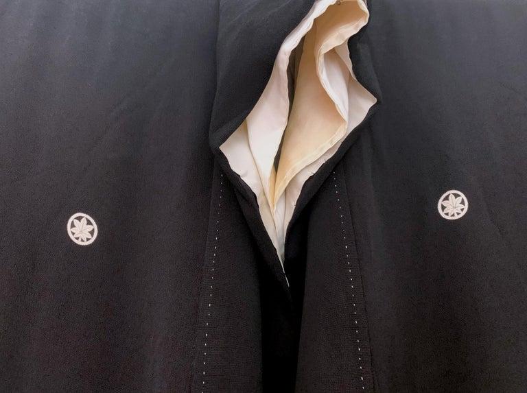 Vintage Japanese Formal Black Silk Kimono In Good Condition For Sale In Atlanta, GA