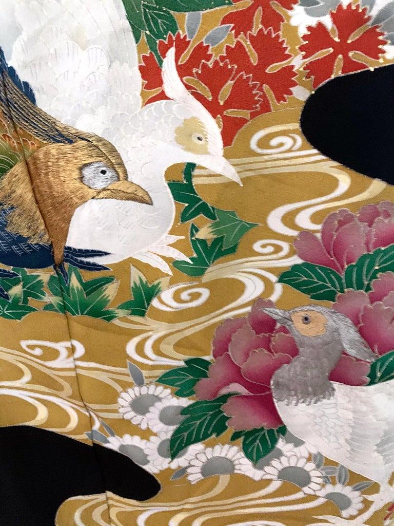 Vintage Japanese Formal Black Silk Kimono For Sale 1