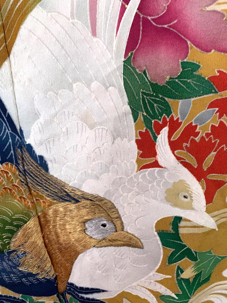 Vintage Japanese Formal Black Silk Kimono For Sale 3