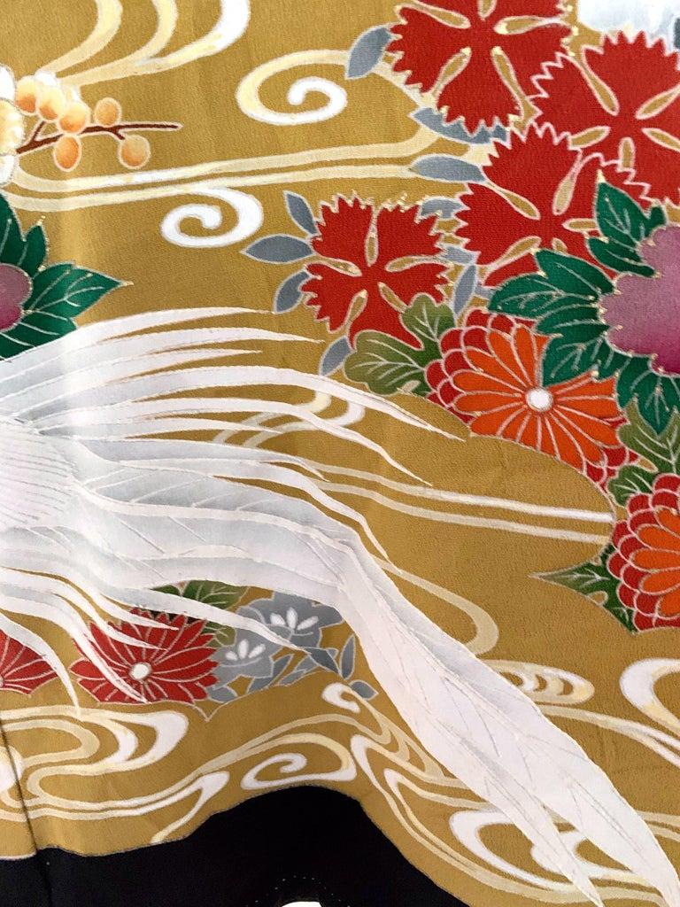 Vintage Japanese Formal Black Silk Kimono For Sale 4