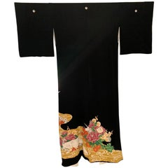 Vintage Japanese Formal Black Silk Kimono