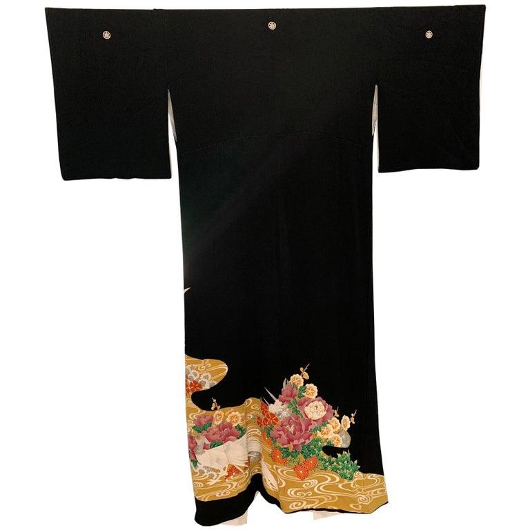 Vintage Japanese Formal Black Silk Kimono For Sale