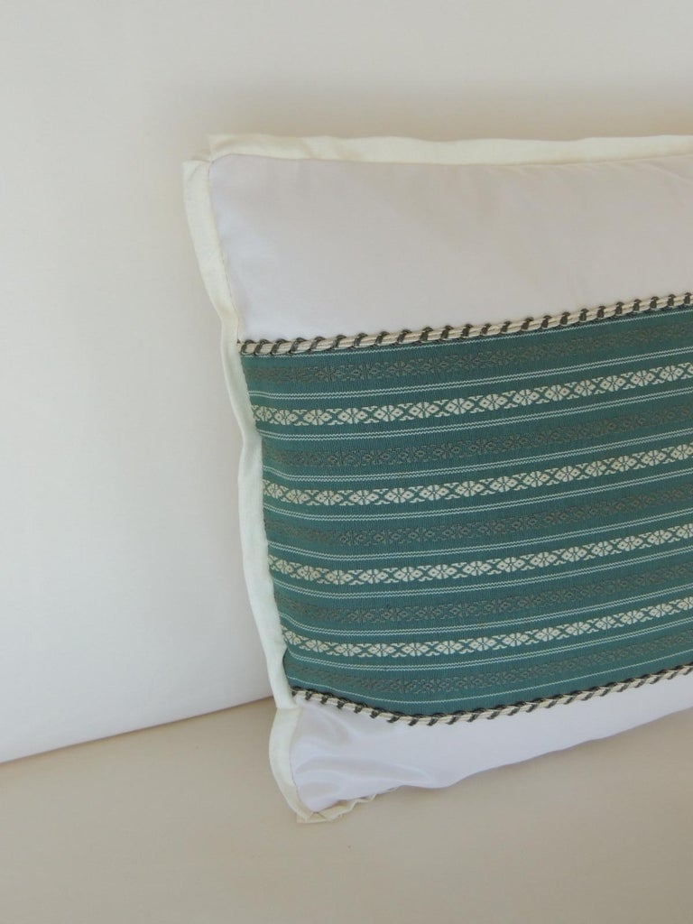 Japonisme Vintage Japanese Green & White Obi Decorative Lumbar Pillow with Decorative Trim For Sale