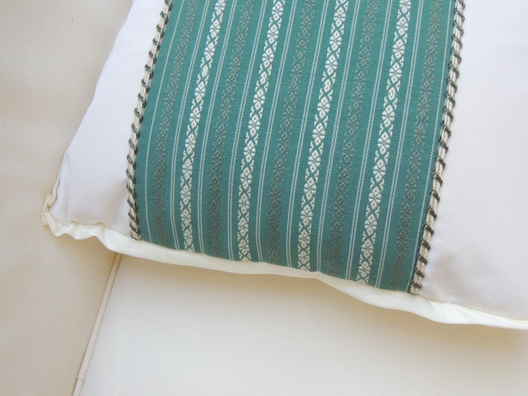 Hand-Crafted Vintage Japanese Green & White Obi Decorative Lumbar Pillow with Decorative Trim For Sale