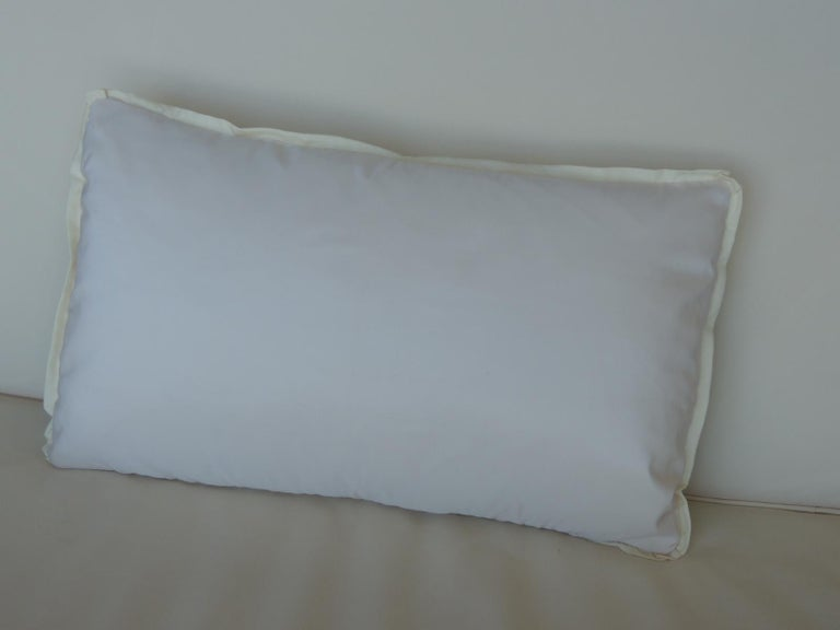 Vintage Japanese Green & White Obi Decorative Lumbar Pillow with Decorative Trim In Good Condition For Sale In Wilton Manors, FL