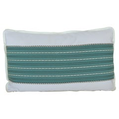 Vintage Japanese Green & White Obi Decorative Lumbar Pillow with Decorative Trim