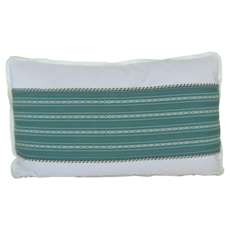 Vintage Japanese Green & White Obi Decorative Lumbar Pillow with Decorative Trim For Sale