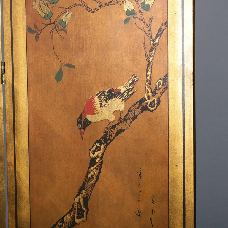 Vintage Japanese Hand Painted Giltwood Four Panel Privacy