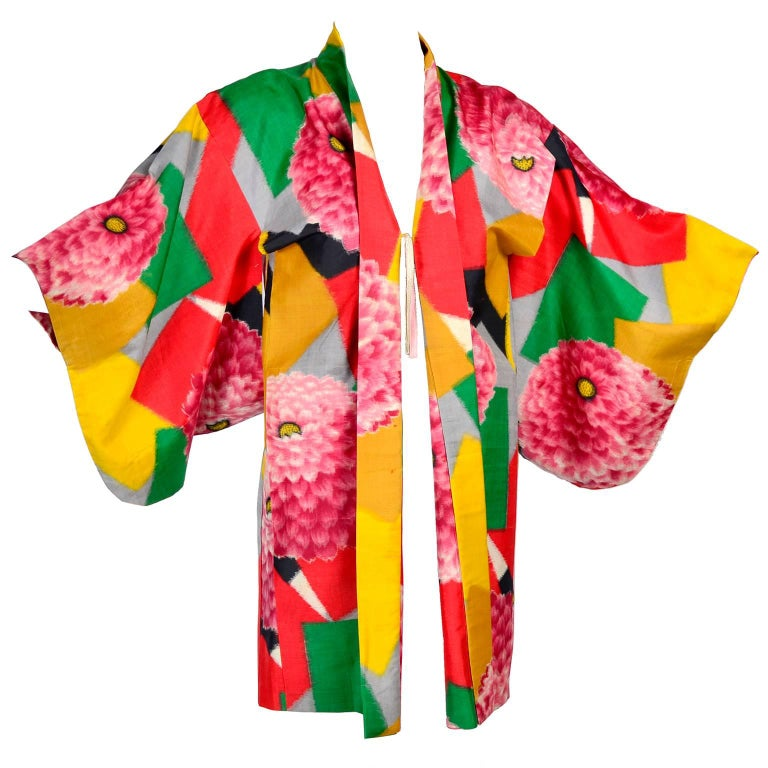 Japanese Vintage Haori Silk Kimono Jacket in Bold Zinnia and Geometric Print