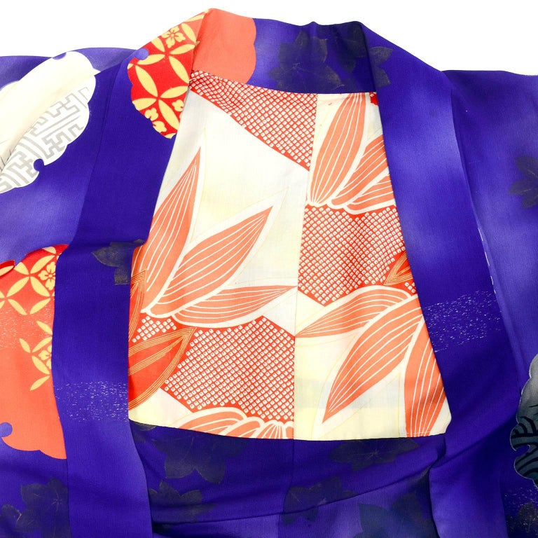 bce10f6159a Japanese Vintage Purple Silk Haori Kimono Jacket with Orange / Yellow Mon  Crests For Sale 1