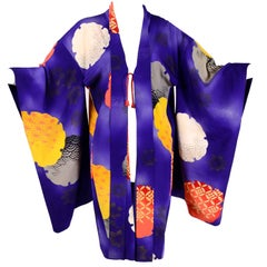 Japanese Vintage Purple Silk Haori Kimono Jacket with Orange / Yellow Mon Crests