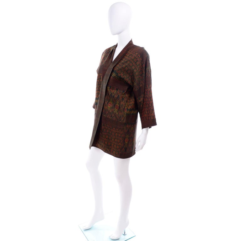 Black Vintage Japanese Ikat Jacket in Metallic Bronze and Green Linen  For Sale